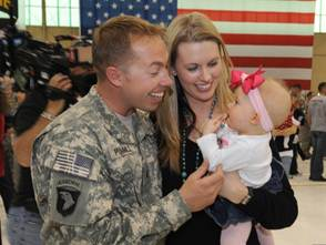 Military family at homecoming