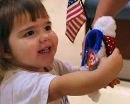 Child holding flag