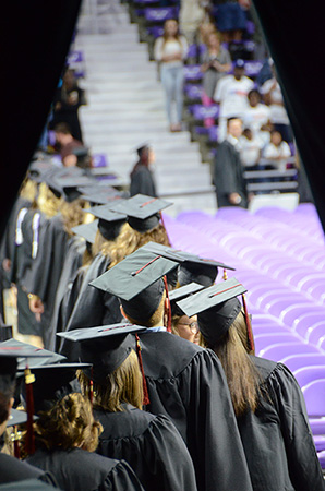 Grads lining up for commencement