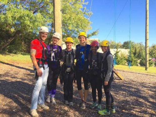 Researchers at ropes course