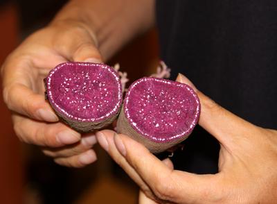 purple sweet potato cut in half