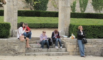 Students at Fontenay Abbey in France