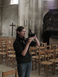 Kim Riege in the nave of Vezelay, a great Romanesque pilgrimage church.