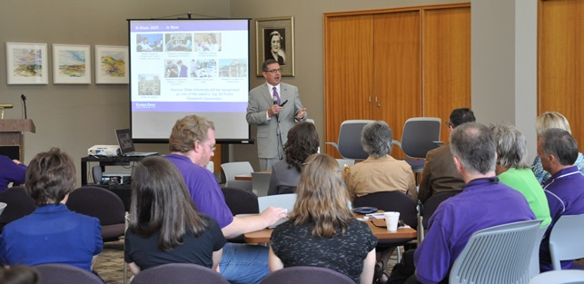 At a September all-college meeting, president Kirk Schulz reviews progress on the 2025 plan to make K-State one of the nation's Top 50 Public Research Universities.