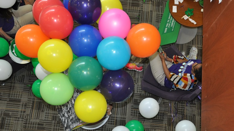Balloons mark the gerontology exhibit in 2014.